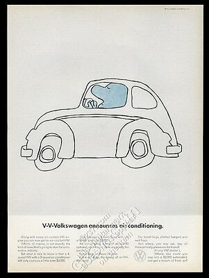 1968 VW Volkswagen Beetle classic car with air conditioning vintage print ad