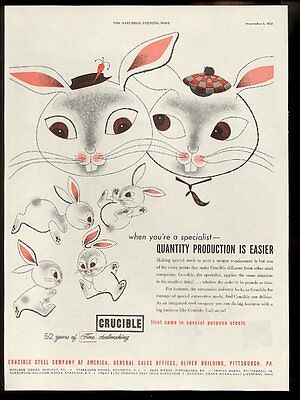 1952 CUTE rabbit bunny family art Crucible Steel vintage print ad