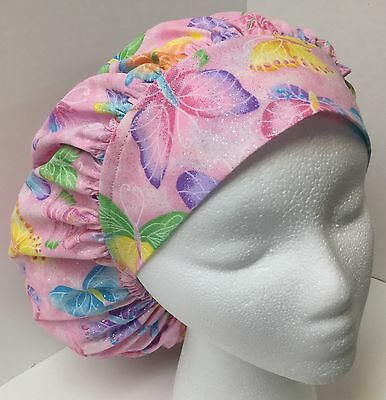 Pink Butterfly Print Size Large Medical Bouffant OR Scrub Cap Surgery Hat