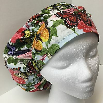 Rose Butterfly Print Size Large Medical Bouffant OR Scrub Cap Surgery Hat