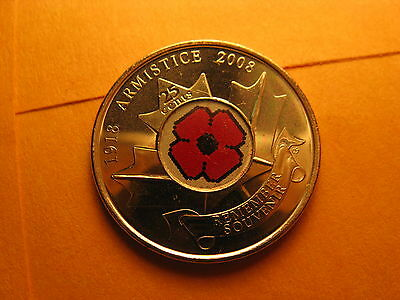 Canada 2008 Armistice 90th Anniversary Remembrance Day Poppy 25 Cent Coin.