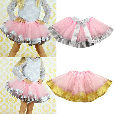 Child Girls Kids Tutu Skirt Tulle Dance Ballet Dress Toddler Rainbow Bow Costume