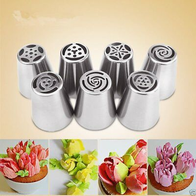 7~15PCS  Big Flower Stainless Icing Piping Nozzle Cake Baking Tool + coupler