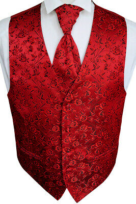 Wedding waistcoat with Plastron, 4 pcs, in red, Model No. 16.7 Size 44 - 114