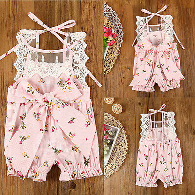 0-24M Newborn Baby Girls Floral Cotton Romper Jumpsuit Bodysuit Outfit Clothes