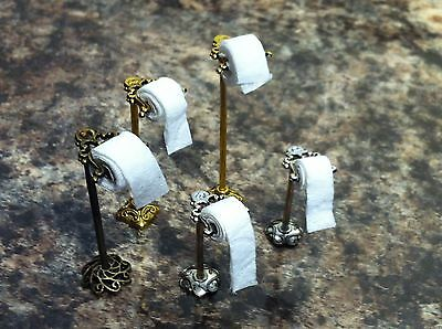 Dolls house bathroom toilet roll stands