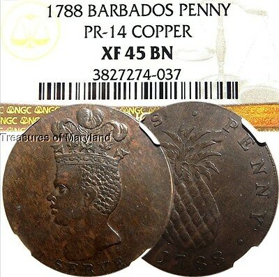 "NGC XF45 1788 Barbados ""Pineapple"" I Serve Slavery Penny! sku #4037"