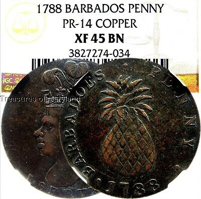 "NGC XF45 1788 Barbados ""Pineapple"" I Serve Slavery Penny! sku #4034"