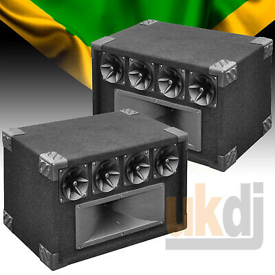 """Twin Pack of Reggae Sound System 400w Top Boxes Tweeter Box Piezo & 14x4"""" Horn"""