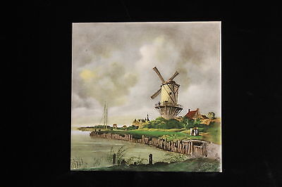 "Dutch MOSA Holland 6""x6"" Windmill Canal Scenic Unmounted Decorative Tile"