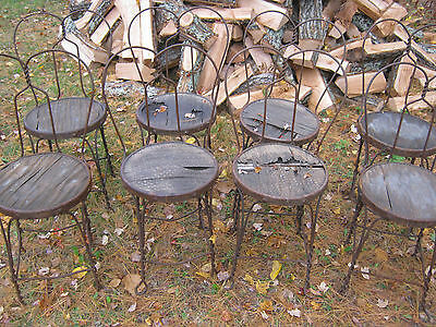 8 Antique Usa Wrought Iron Garden Patio Plant Stool Stand Art Chairs Pot Planter