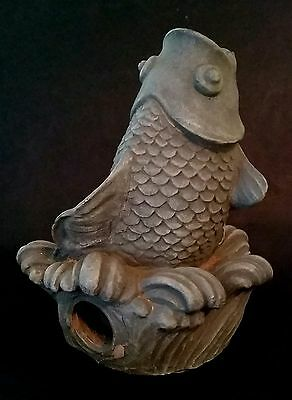 Vintage KOI Fountain Statue Fish Figurine  Sprinkler GARDEN ARCHITECTURAL DECOR