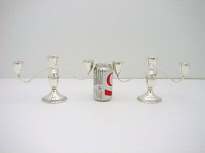 Set of 2 Duchin Sterling Silver Convertable Candelabra Midcentury Neo-Classi