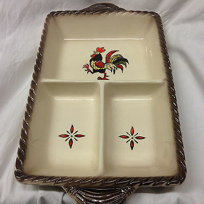 """Metlox Poppytrail Vernon Ware California Red Rooster 3 Part Relish Dish 15 3/4"""""""