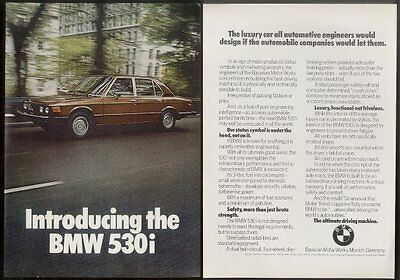 1975 BMW 530i 530 i car photo vintage print ad