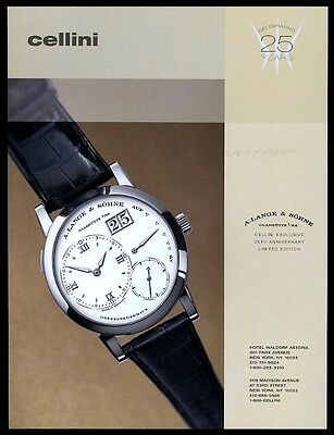 2002 Lange Glashutte Doppelfederhaus watch color photo vintage print ad