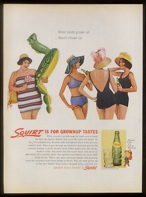 1962 fat girls not allowed cruel Squirt soda vintage print ad