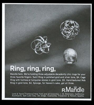 1968 R. Mandle jewelry swirl cage & nob ring photo vintage print ad