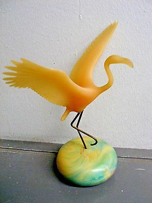 """VINTAGE PINK FLAMINGO ART SCULPTURE by JOHN PERRY on MOON STONE BALL BASE 8"""""""