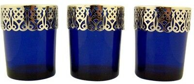 Blue Glass Votive Candleholder with Silver Tone Metal Detail, Lot of 3, 2 5/8 In