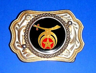 Beautiful Vintage Silver & Goldtone Belt Buckle Masons Shriners or Silver Dollar