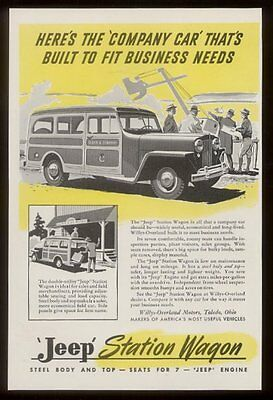1947 Willys Jeep Station Wagon at construction site vintage print ad