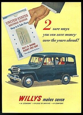 1951 Willys Jeep blue station wagon Robert McCall art vintage print ad
