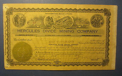 Old Vintage 1919 HERCULES DIVIDE MINING CO. - Stock Certificate - NEVADA