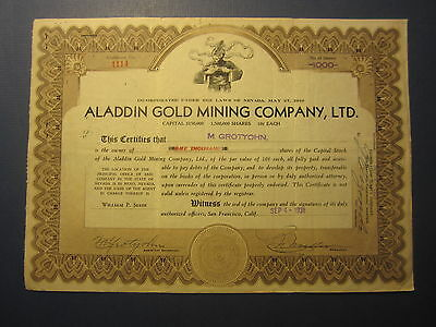 Old Vintage 1931 - ALADDIN GOLD MINING CO. - Stock Certificate - NEVADA