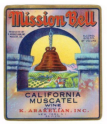 1936 Mission Bell Wine Bottle Label Madera California Original Muscatel 3.25X4""