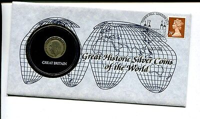 Great Britain Shilling 1921  Silver Coin And Stamp Cover 948G
