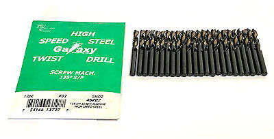 #2 Screw Machine Drill Bits Black & Gold 135 Degree Split Point Cobalt 24 Pack