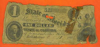 "1861 $1 ""The State of Florida"" - Tallahassee Broken Bank Note!"