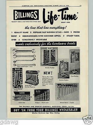 1959 PAPER AD Billings Srencer Tool Co Store Display Wrench Wrenches Life Time