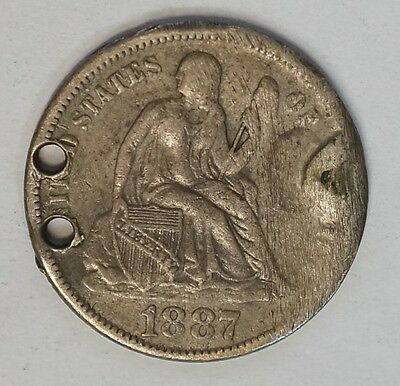 """1887 Seated Liberty Love Token """"FH""""  Two Holes (J-35)"""