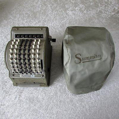ANTIQUE VINTAGE SUMMIRA 7 ADDING MACHINE with COVER WEST GERMANY