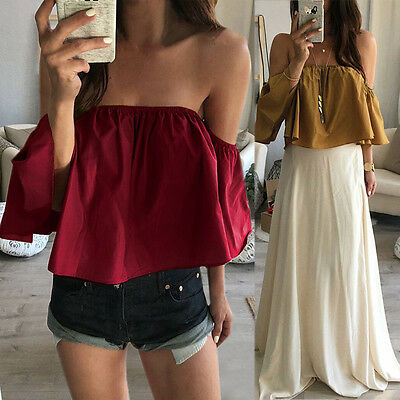 Womens Ladies Off The Shoulder Strapless Chiffon Tops Short Sleeve Blouse Tee RD