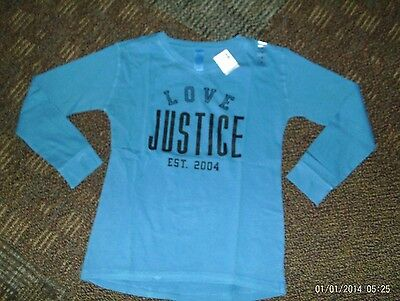 justice-- girls --size 12-- blue--long sleeve justice top nwt