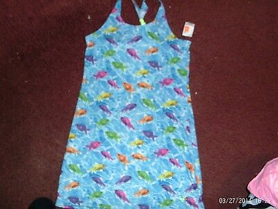 justice--- girls size 5---blue-fishes-- bathing suit cover up---  nwt