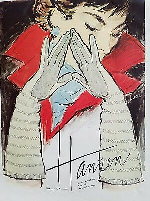 1957 women's gloves by HANSEN long style color vintage fashion Lucia art ad