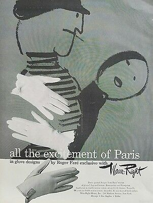 1957 women's gloves design by Roger Fare WEAR RIGHT excitement Paris fashion ad