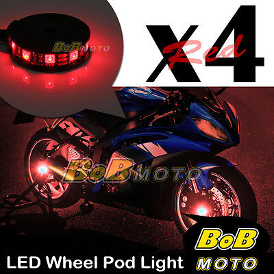 Red Motorcycle 360 Cycle LED Wheel Light Custom Rim Glow Pod x4 For Aprilia
