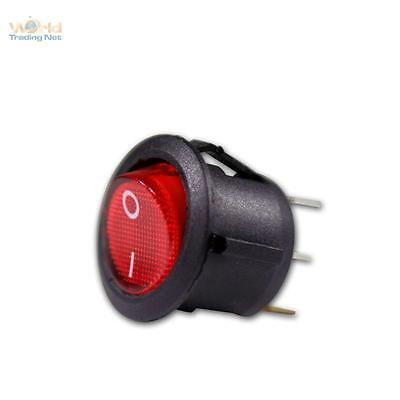 Rocker switch 1-polig A /.switching off, red illuminated 12V, round