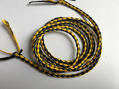 New Genuine Leather 2 Color Braided Bolo Cord For Vest Yellow & Black (Set Of 2)