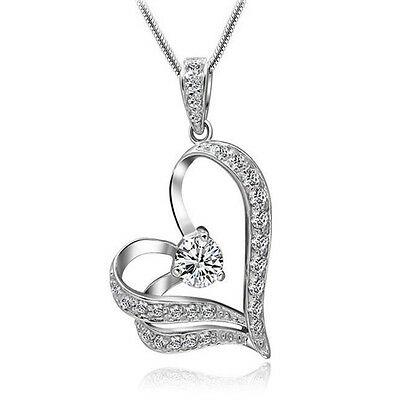 Fashion Women Jewelry Silver Chain Crystal Rhinestone Heart Pendant Necklace