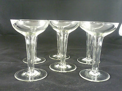 Vintage Set 6 RARE COCKTAIL Champagne Hollow Stem Glasses - Small Bowl - HTF