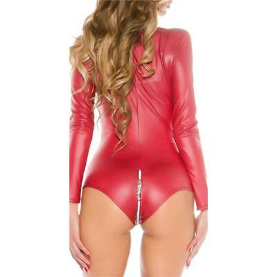 Sexy Langarm Body Wetlook Mit Zipper Gogo Clubwear Bordeaux 34/36/38 #gw643