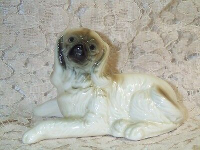 """Vintage Bone China Afghan Hound Puppy Dog Figurine 2 1/4"""" Tall Laying Sweet Face"""