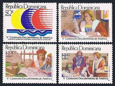 Dominican Rep 1002-1006,MNH.Michel 1535-1538,Bl.41. Columbus-500.Memorial.1987.