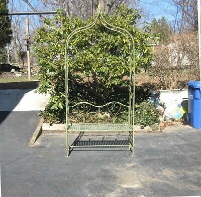 "Arbor/ Garden Arch with Bench  95"" High- Wrought Iron - Antique Mint Finish"